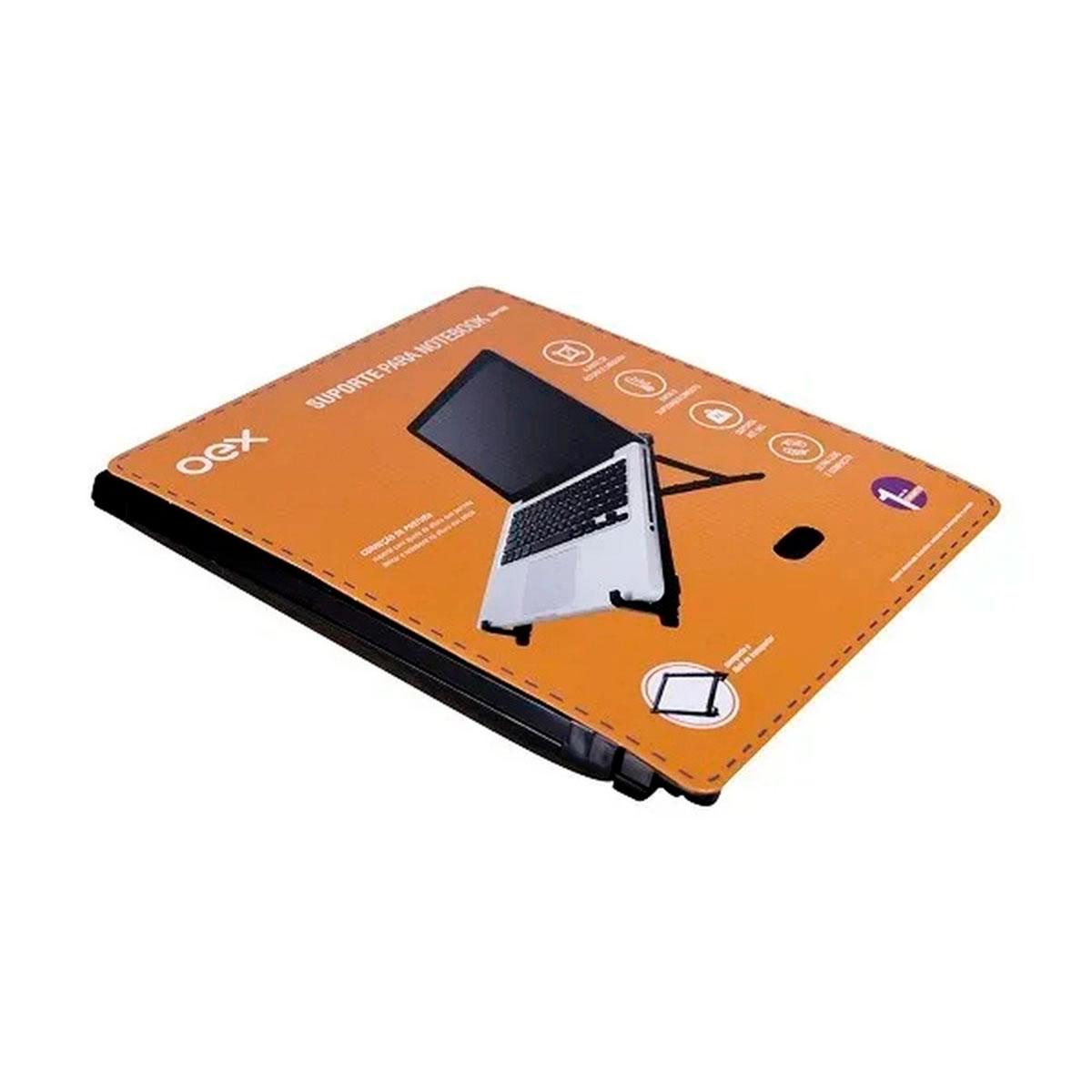 Suporte para Notebook OEX SN100, Ergonômico NR17, Regulagem de Altura e Largura
