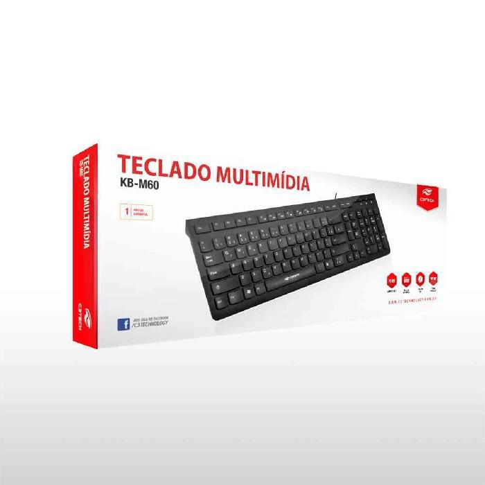Teclado C3Tech KB-M60BK, Multimídia, USB, ABNT2, Preto