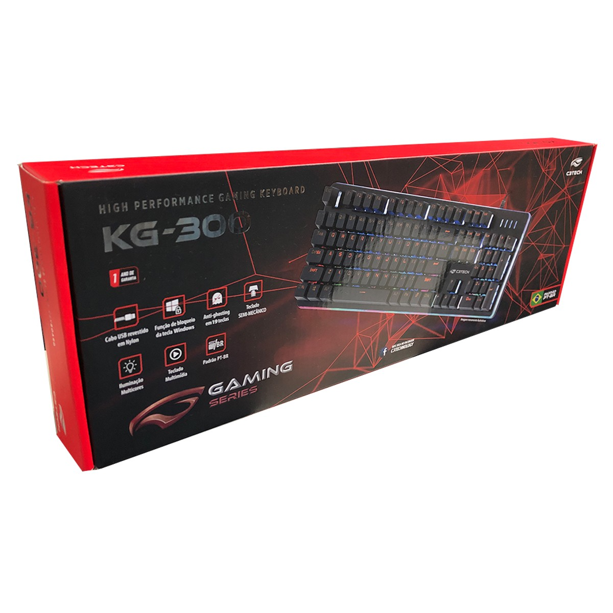 Teclado Gamer C3Tech KG-300BK, USB, LED, Semi-Mecânico, ABNT2