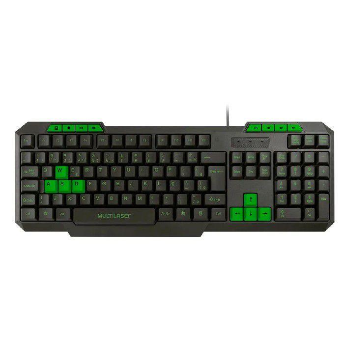 Teclado Gamer Multilaser Multimídia Slim Com Hotkeys Preto e Verde - TC243