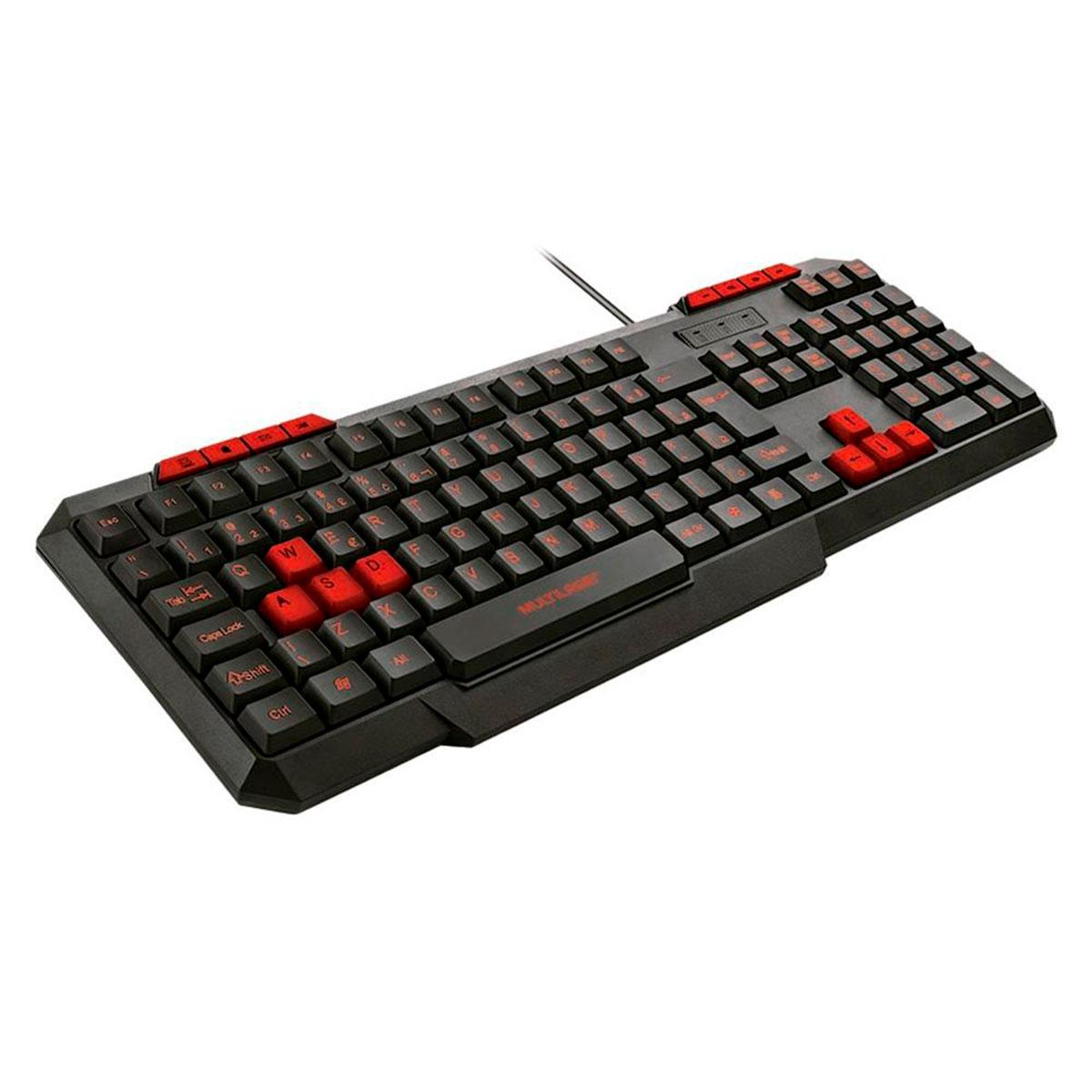 Teclado Gamer Multilaser Multimídia Slim Com Hotkeys Preto e Vermelho - TC242