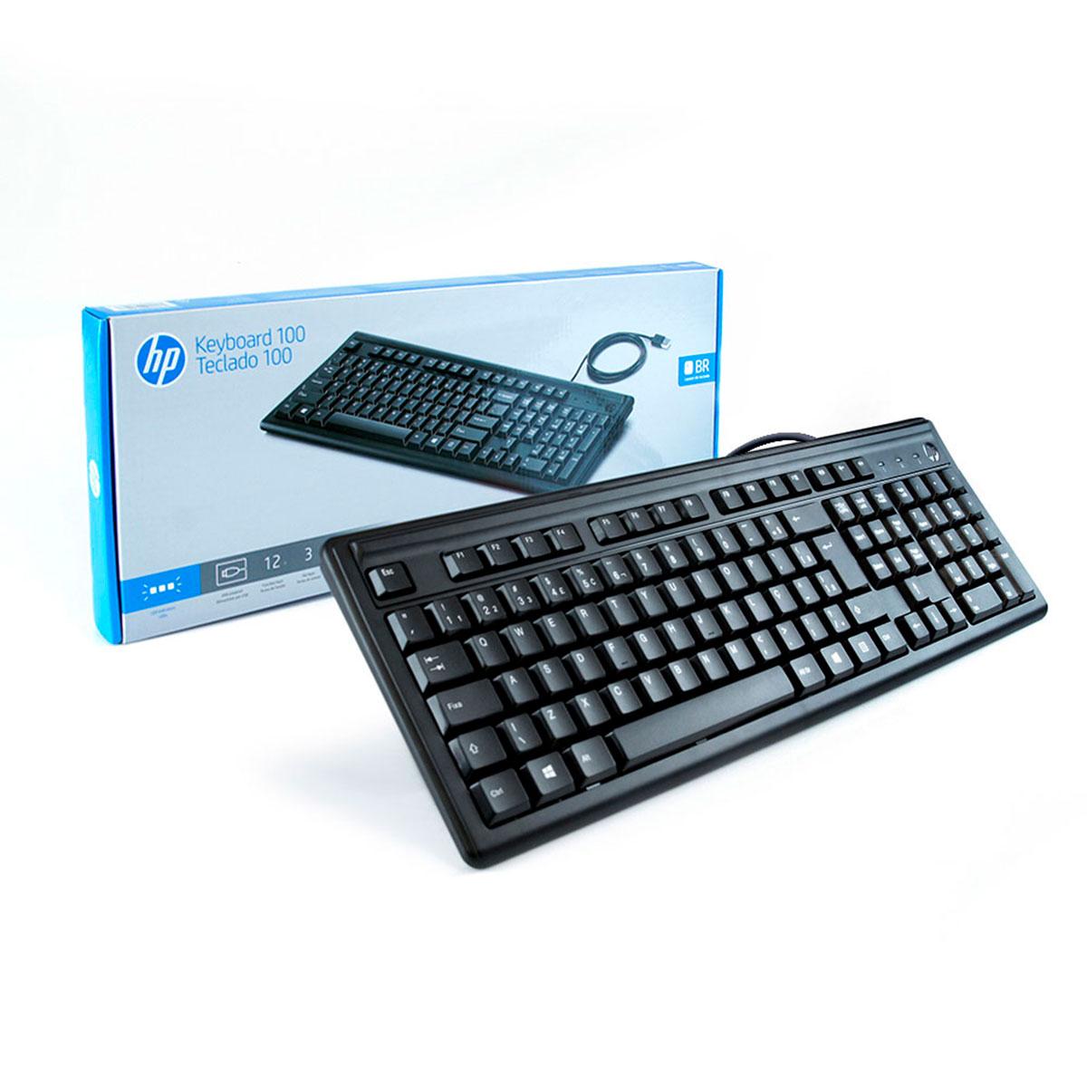 Teclado HP 100, USB, ABNT2, Preto - 2UN30AA