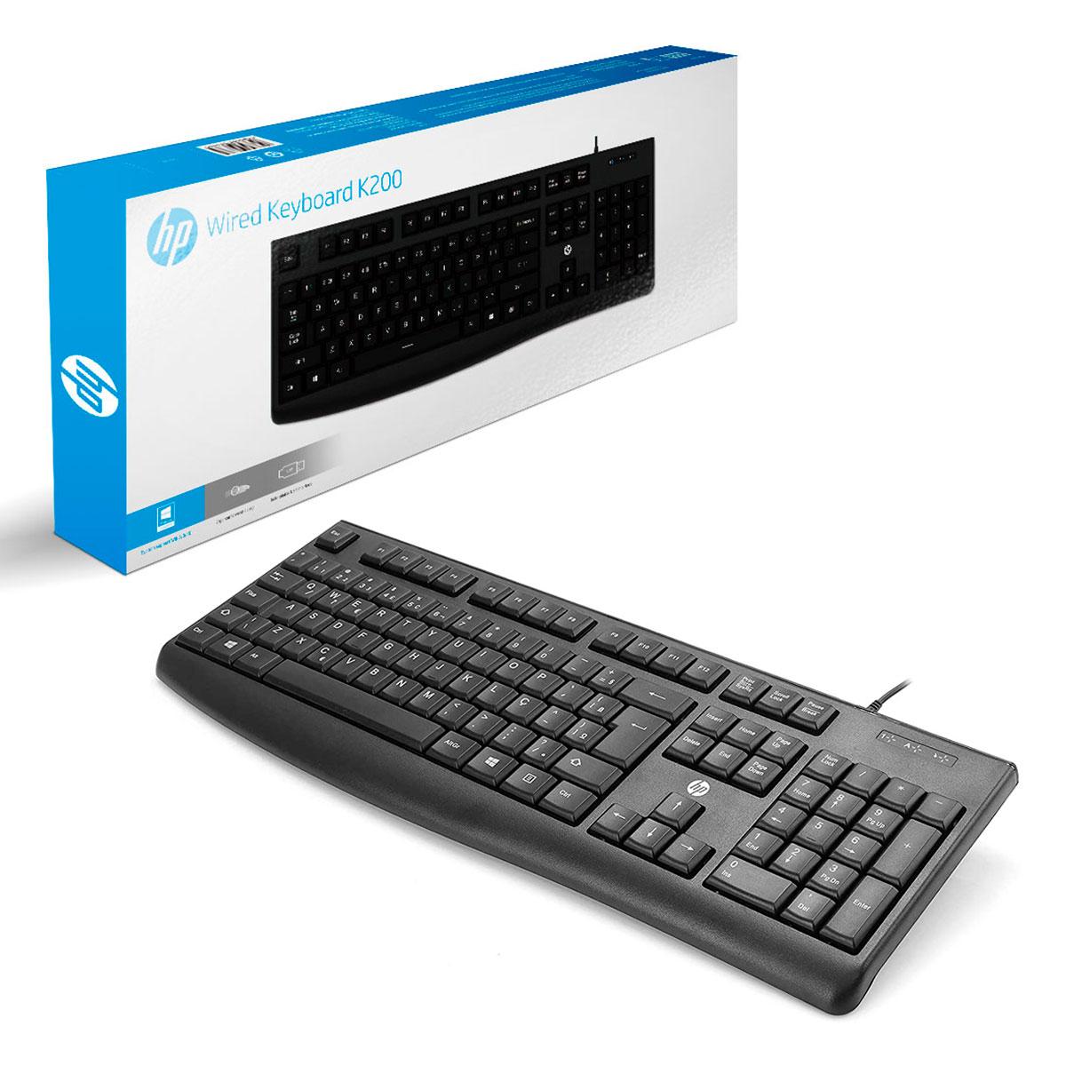 Teclado HP K200, USB, ABNT2, Preto