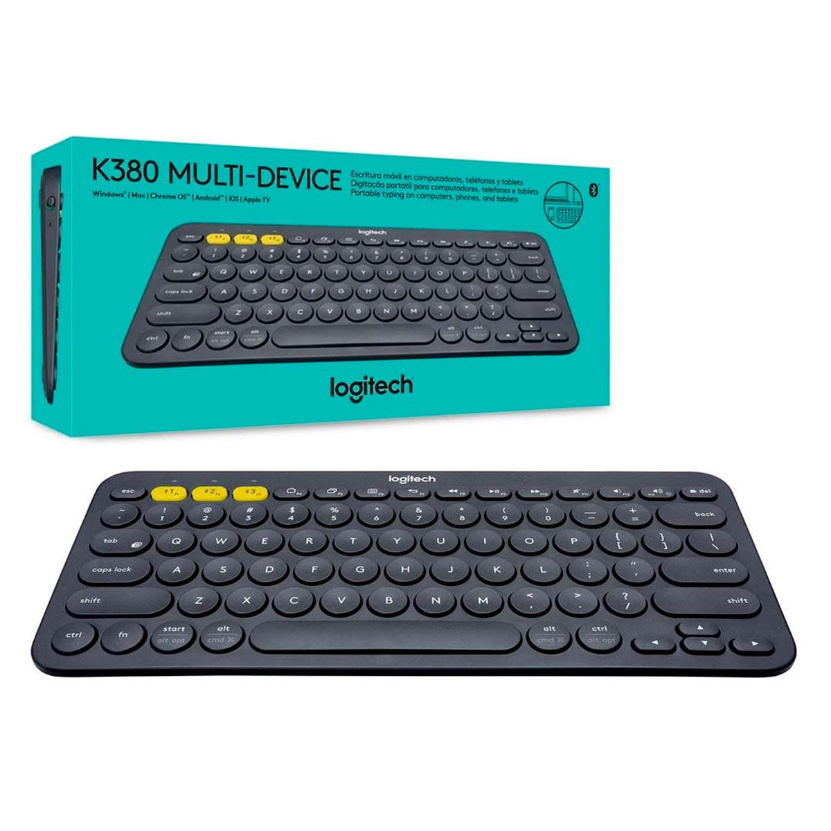 Teclado Logitech K380 Multi-Device, Bluetooth, US, Preto - 920-007564
