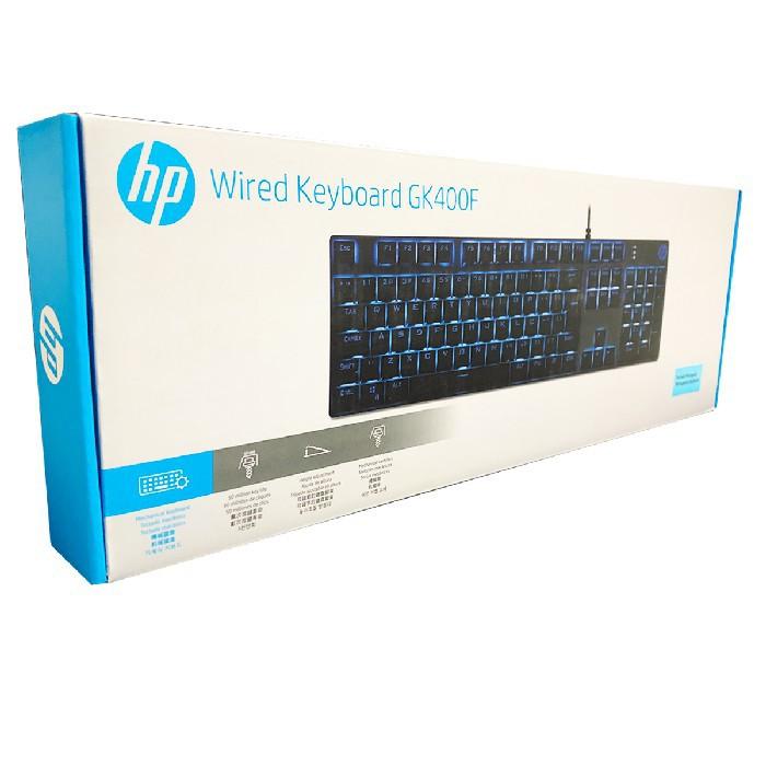 Teclado Mecânico Gamer HP GK400F, USB, LED Azul, Switch Blue, ABNT2, Preto
