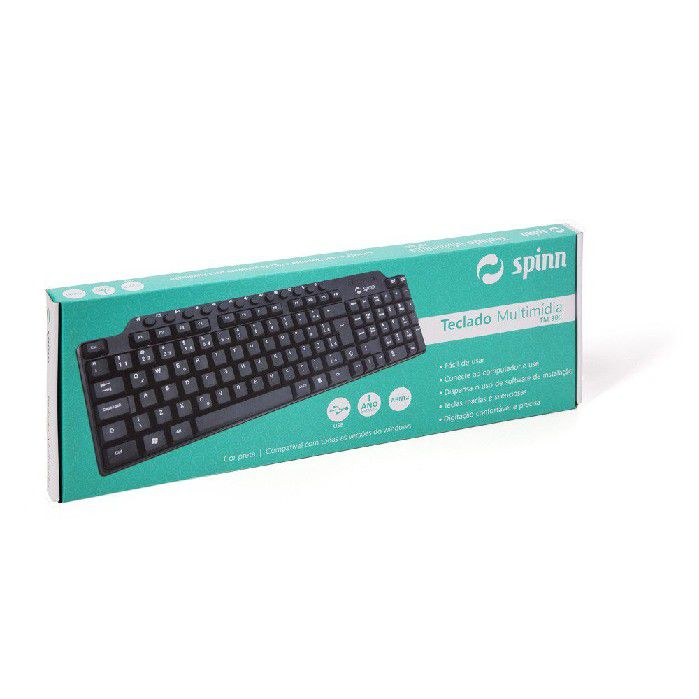 Teclado Multimídia Spinn USB Preto Compact  TM300