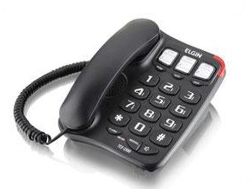 Telefone Com Fio, Viva-voz e Memória para Discagem, Elgin - Preto - 42TCF2300000