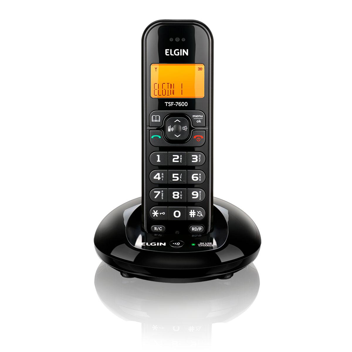 Telefone Sem Fio Elgin TSF 7600 com Viva-Voz e Identificador de Chamadas, Preto - 42TSF7600000
