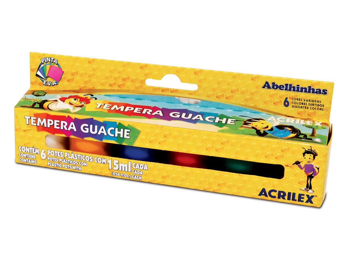Tempera Guache, 6 Cores, 15 ml, Acrilex - 02006