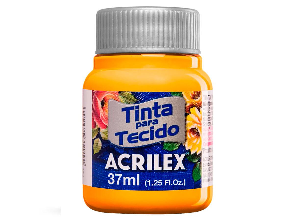 Tinta para Tecido Fosca, 37 ml, Contém 12 Unidades, Acrilex - Amarelo Gema