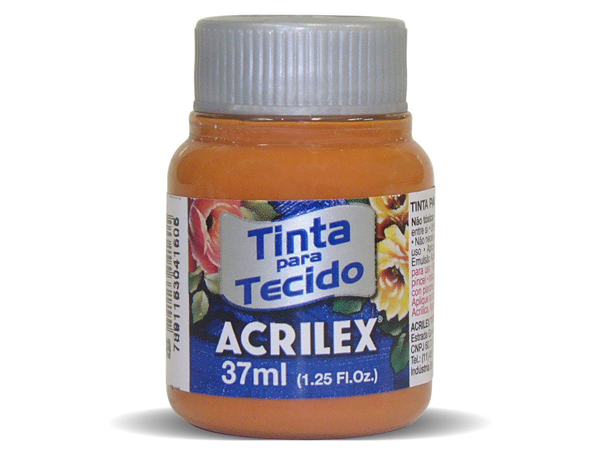 Tinta para Tecido Fosca, 37 ml, Contém 12 Unidades, Acrilex - Caramelo