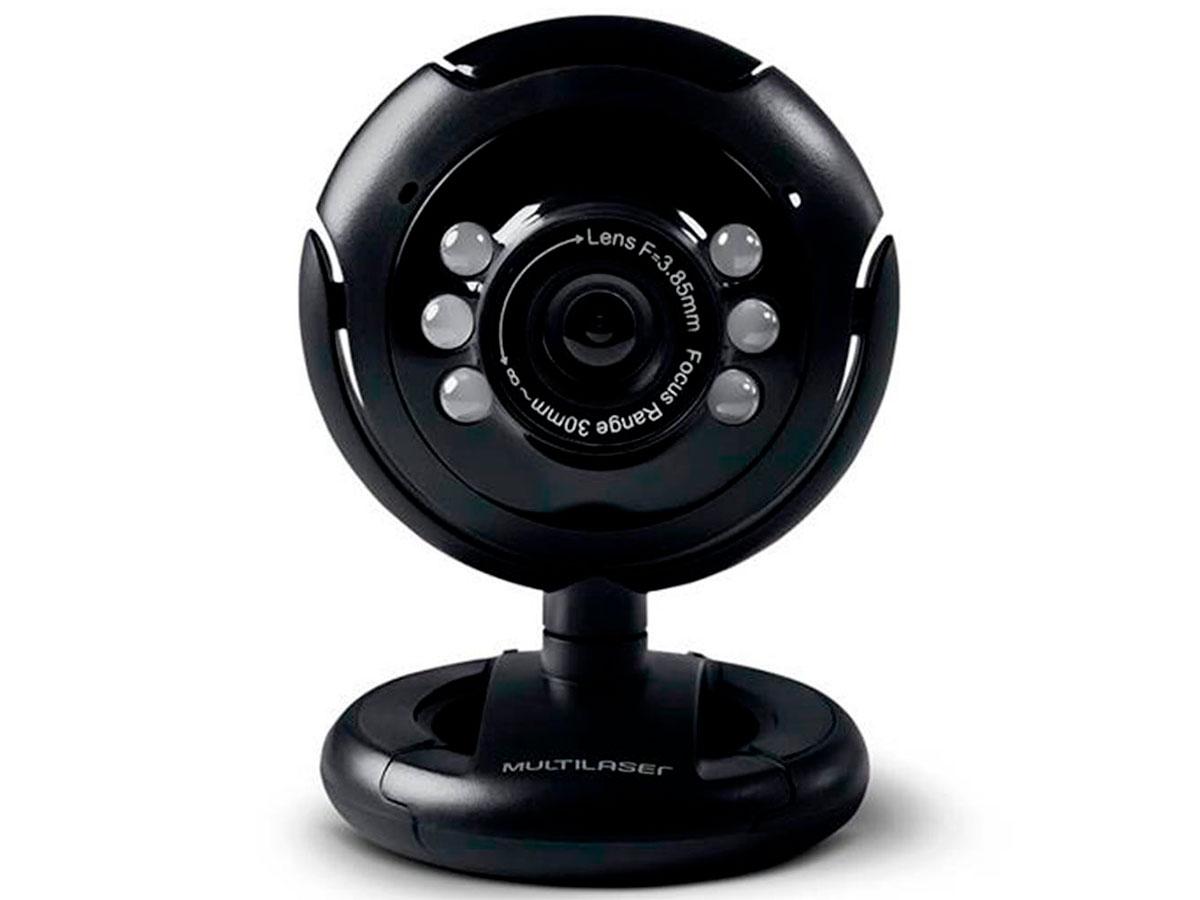 Webcam Multilaser WC045, Plug e Play, 16MP, Nightvision, Microfone, USB 2.0, Preto