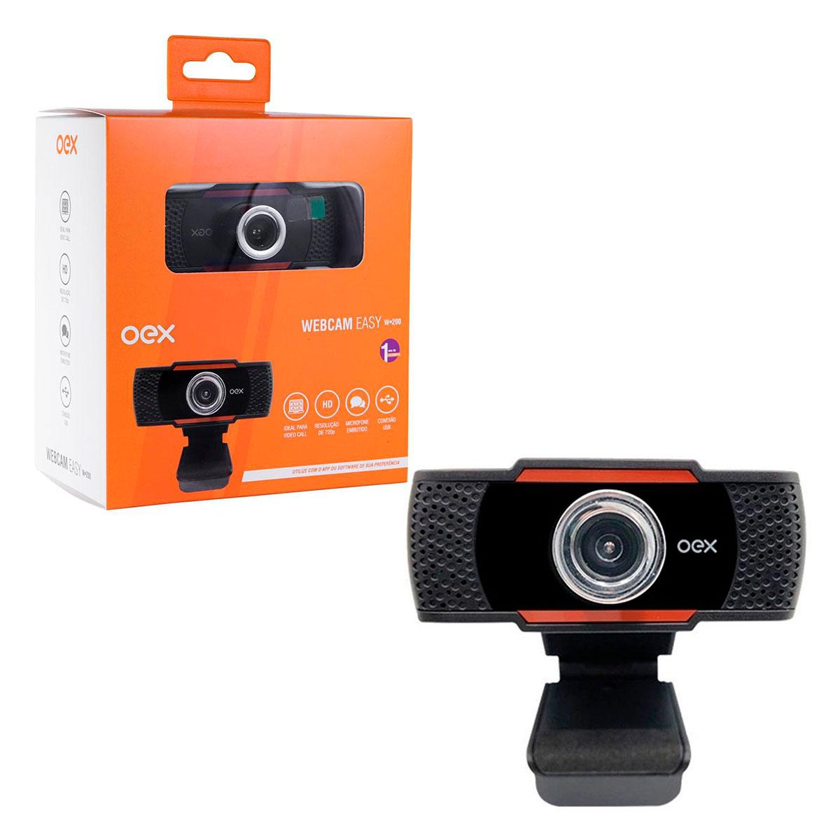 Webcam Oex Easy W200, USB 2.0/P2 (3.5mm), 720p(30FPS), Microfone Embutido, Preto