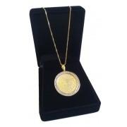 Colar Medalha Pai Nosso Zirconias Folheado a Ouro