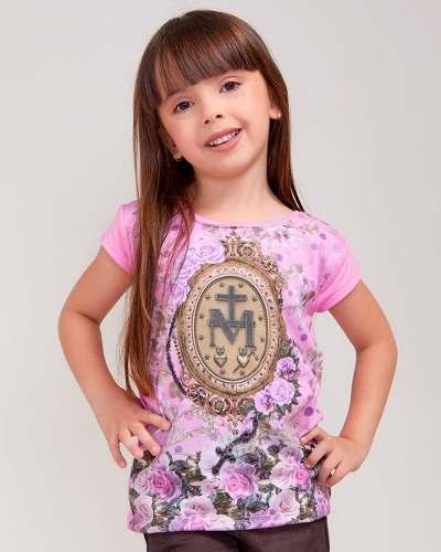 Baby Look Infantil Medalha da Graça com Terço