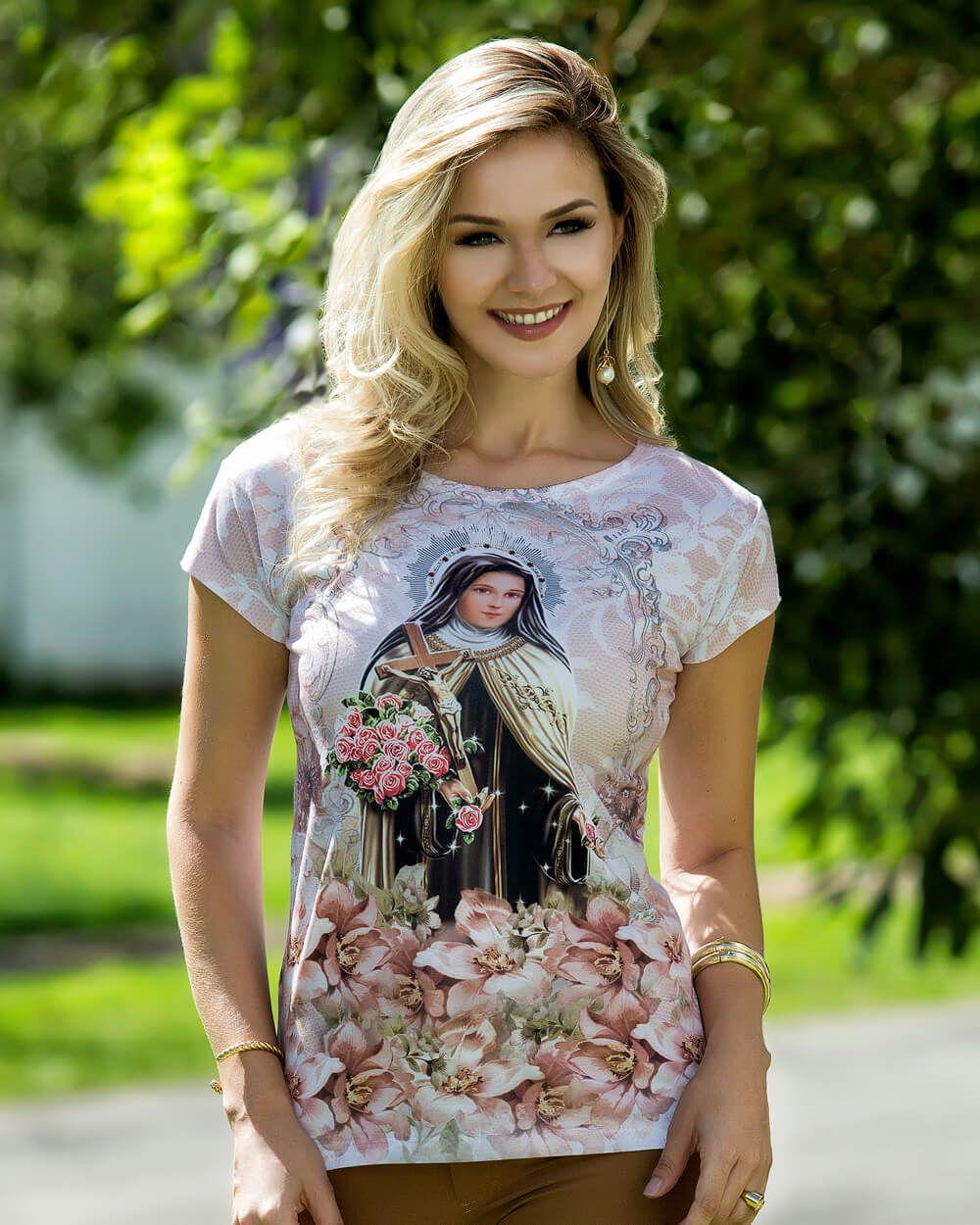 Camiseta Santa Teresinha Baby-look