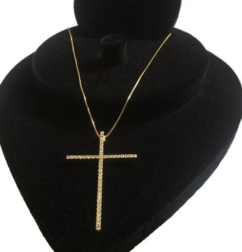 Colar Com Crucifixo De Strass Folheado