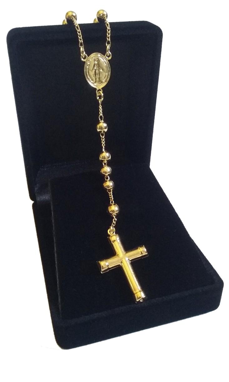 Colar Terço Com Crucifixo Folheado A Ouro