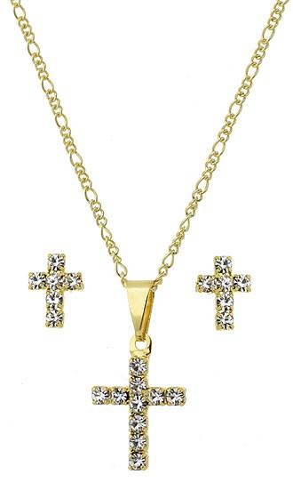 Corrente com Crucifixo Strass com Brincos Folheados A Ouro