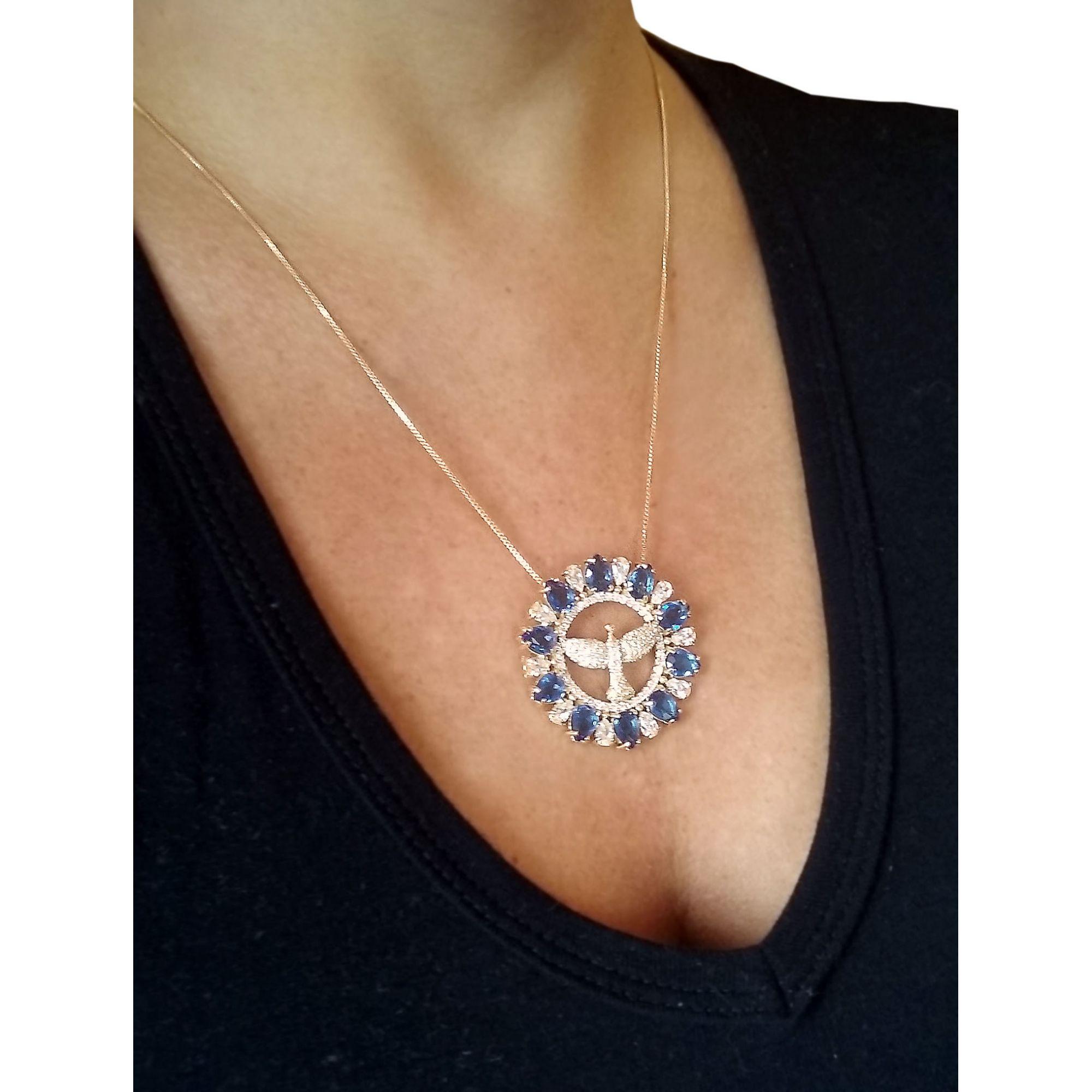 Medalha Espírito Santo com Pedra Natural e corrente