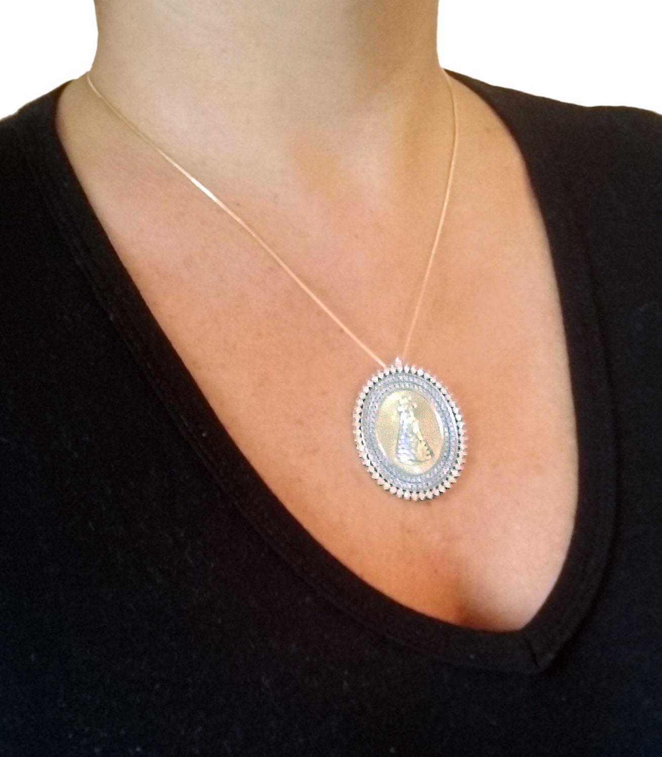 Medalha Oval Nossa Senhora Aparecida Folheada Ouro com Microzirconias