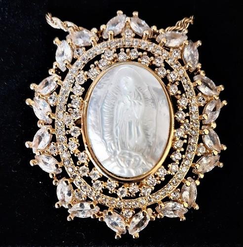 Nossa Senhora Guadalupe Folheada Ouro Com Microzirconias