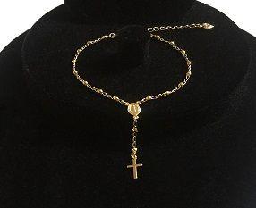 Pulseira Terço Folheada A Ouro Com Crucifixo