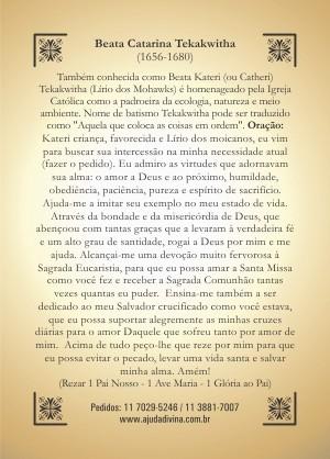 Santinho com Oração Beata Catarina Tekakwitha