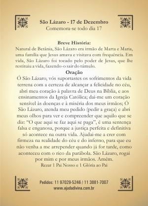 Santinho com Oração de São Lázaro