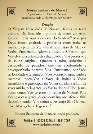 Santinho com Oração Nossa Senhora de Nazaré