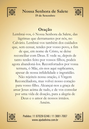 Santinho com Oração Nossa Senhora de Salete