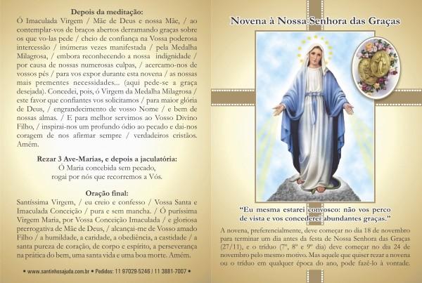 Santinho com Oração Novena Nossa Senhora das Graças