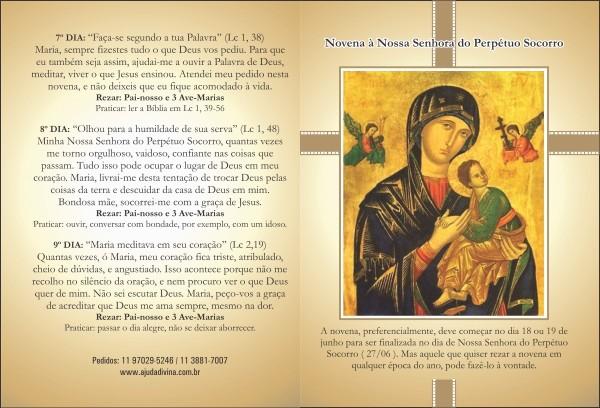 Santinho com Oração Novena Nossa Senhora do Perpétuo Socorro