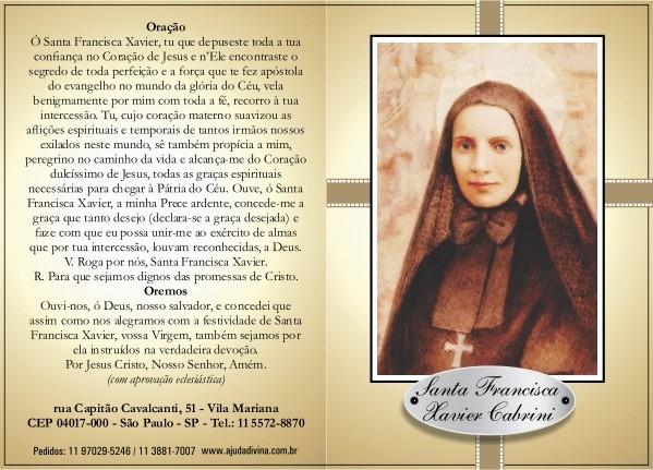 Santinho Novena Santa Francisca Xavier Cabrini