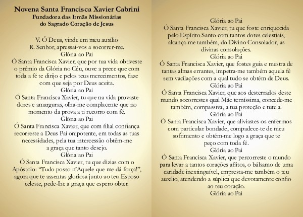 Santinho com Oração Novena Santa Francisca Xavier