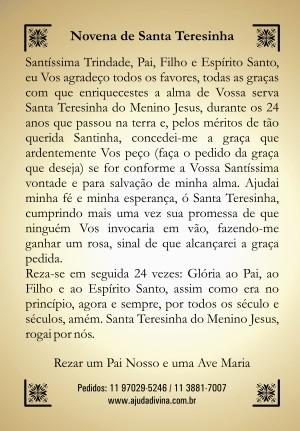 Santinho com Oração Novena Santa Teresinha