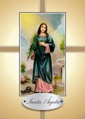 Santinho com Oração Santa Ágata