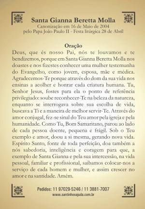 Santinho com Oração Santa Gianna Beretta Molla