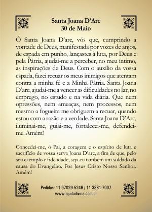 Santinho com Oração Santa Joana Darc