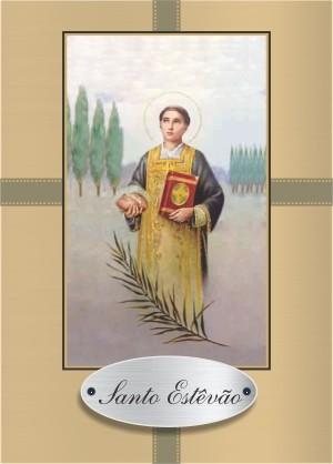 Santinho com Oração Santo Estêvão.