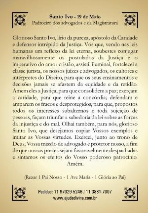 Santinho com Oração Santo Ivo.