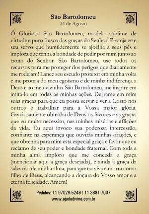 Santinho com Oração São Bartolomeu.