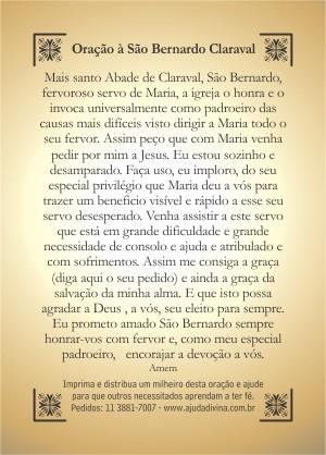 Santinho com Oração São Bernardo.