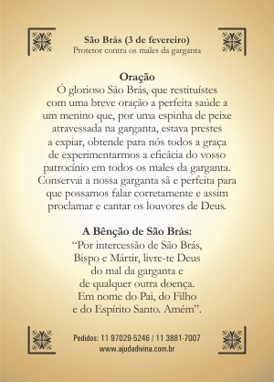 Santinho com Oração São Brás.