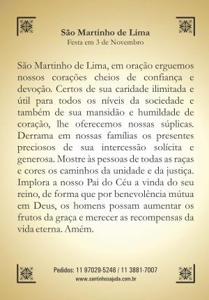 Santinho com Oração São Martinho de Lima