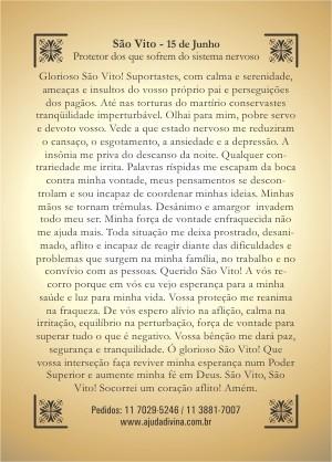 Santinho com Oração São Vito