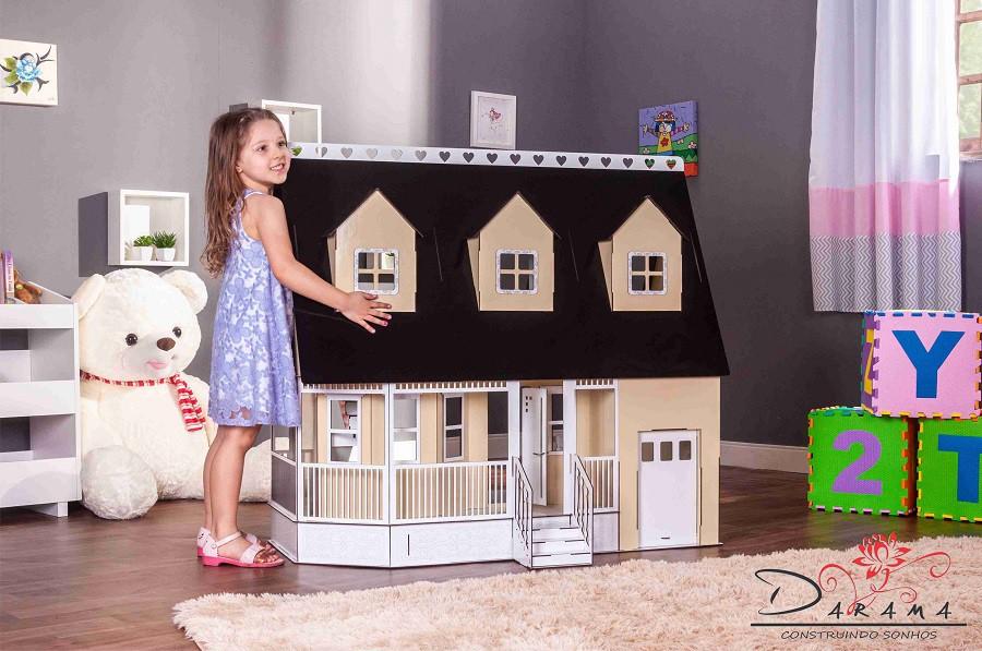 Casa de Bonecas Escala Barbie Modelo Victória Crem - Darama