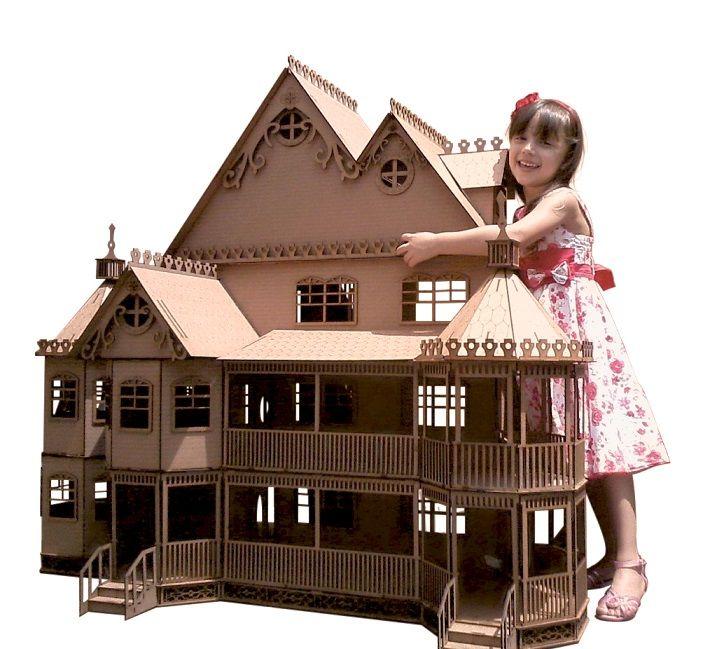 Casa de Bonecas Escala Polly Mansão Ashley Natural - Darama