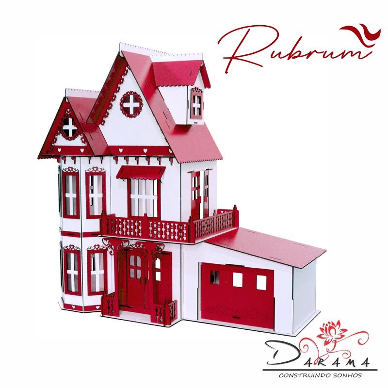Casa de Bonecas Escala Polly Modelo Anne RUBRUM Com Garagem - Darama