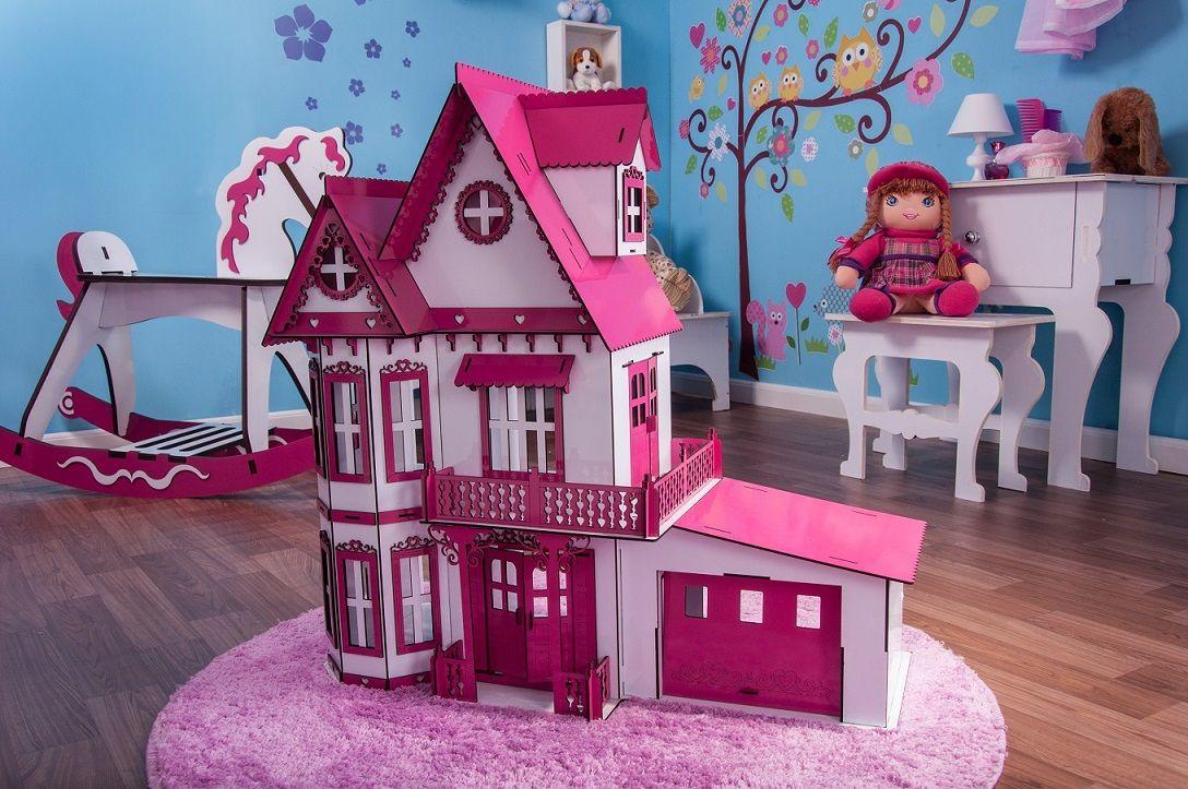 Casa de Bonecas Escala Polly Modelo Anne Sonhos Com Garagem - Darama
